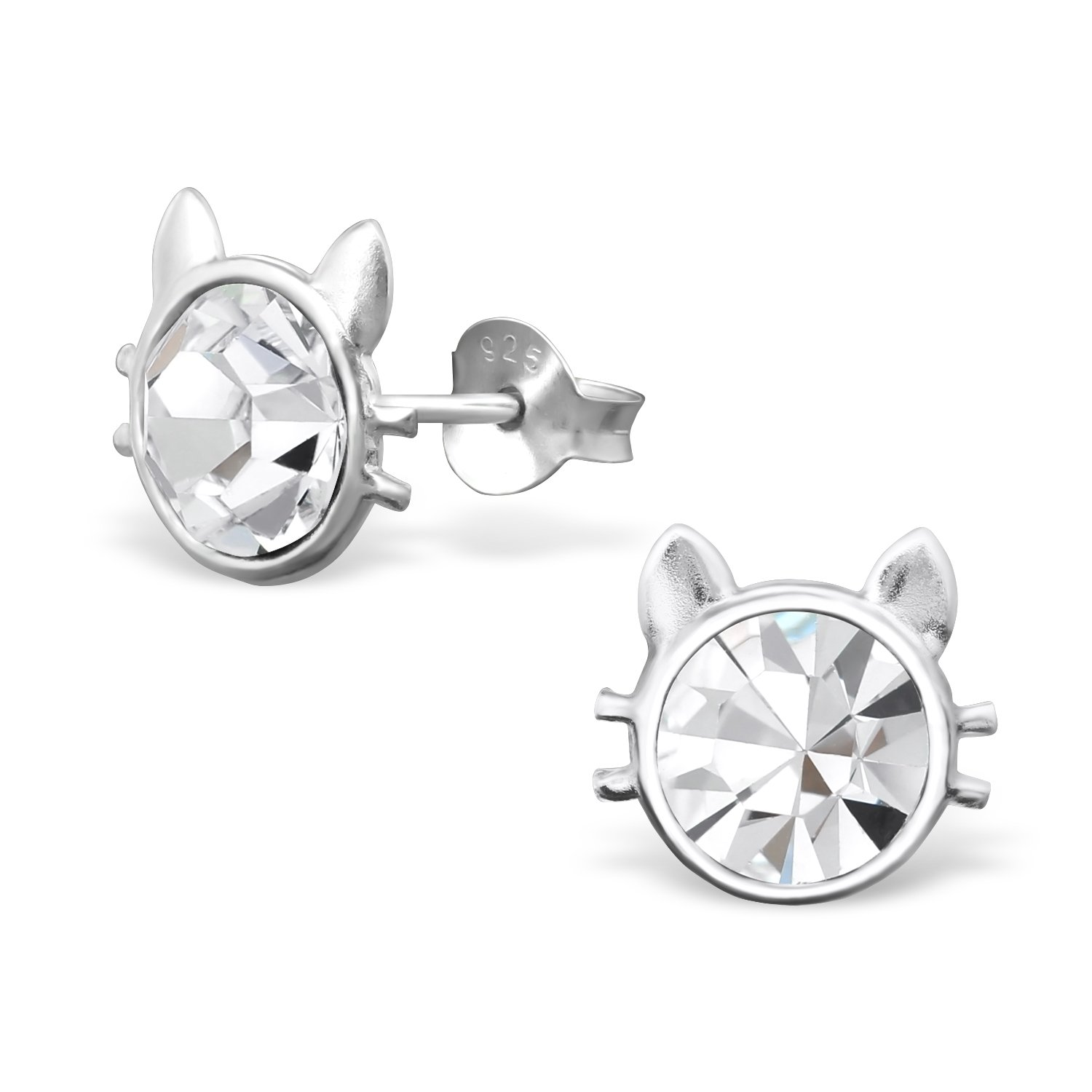 Amazon 925 Sterling Silver Hypoallergenic Crystal Cat Stud