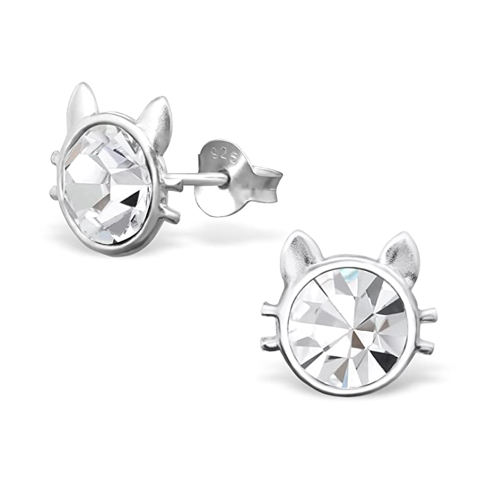 Kinder 925 Silber Ohrstecker KATZE KATZEN Mädchen Ohrringe Katzenliebhaber