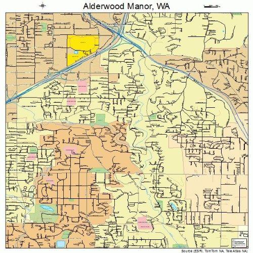 Large Street & Road Map of Alderwood Manor, Washington WA - Printed poster size wall atlas of your home - Wa Alderwood