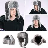 Siggi Mens Rabbit Fur Russian Trapper Hat Black O/S Medium 69185_black