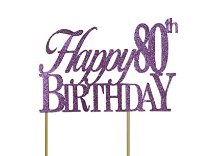 Image Unavailable Not Available For Color All About Details Purple Happy 80th Birthday Cake Topper