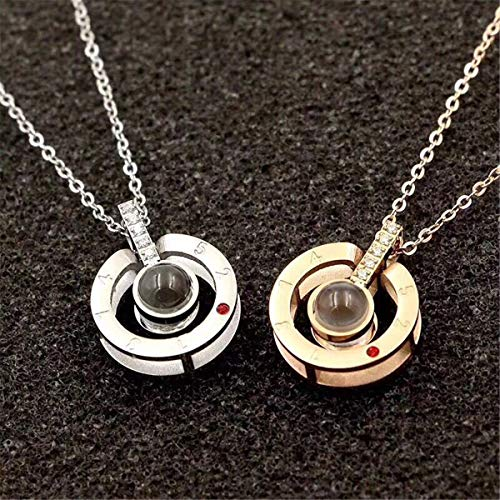 Inf-way I Love You Necklace, 100 Languages Projection on Round Onyx Pendant Loving Memory Collarbone Necklace 1 Pcs (925 Sterling Silver) by Inf-way (Image #5)