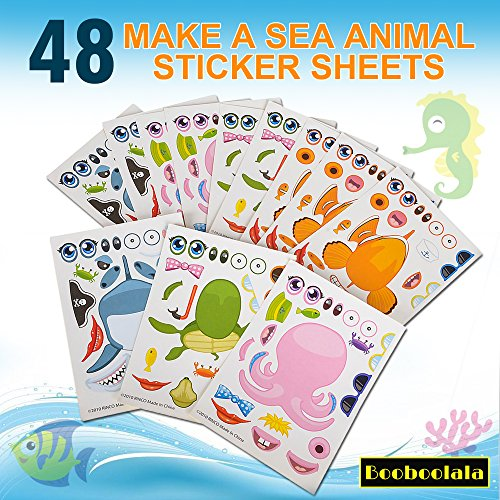 Booboolala (48) Piece Set of Make-Your-Own Sea Sticker Sheets. Great for Parties, School or Craft Time. Enhance Your Child's Creativity! ()