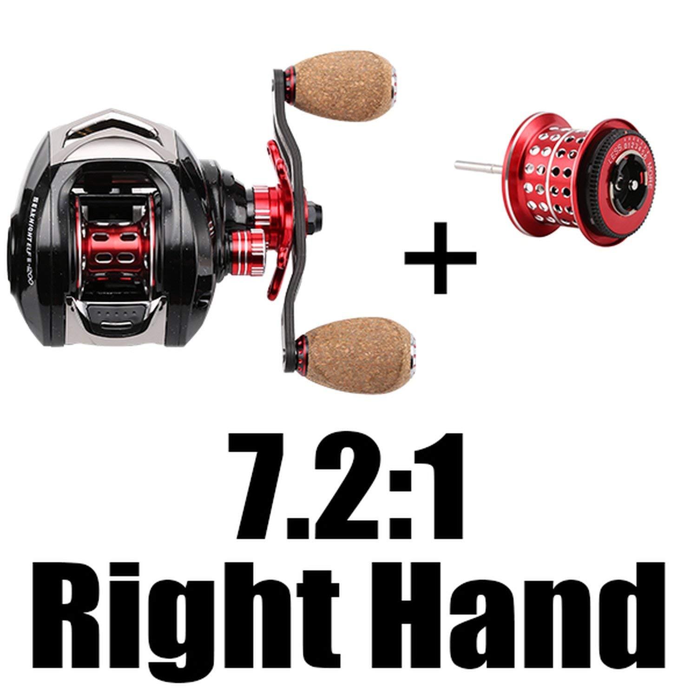 7.2 R with Spool 14 Baitcasting Fishing Reel 6.4 1 7.2 1 14Bb 7.5Kg Carbon Fiber 169G UltraLight Fishing Wheel Dual Brake Systems