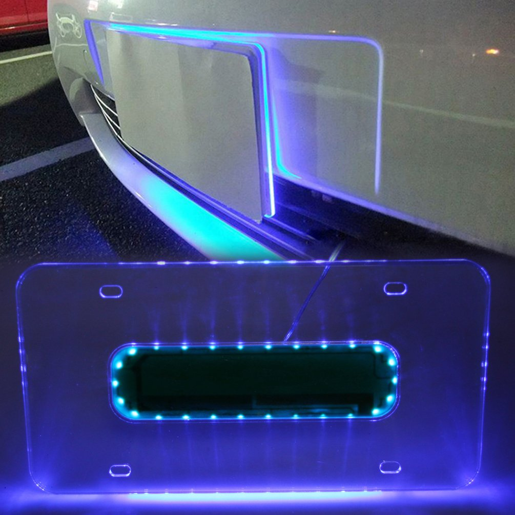 Wonderful Amazon.com: Universal Car Blue LED Light Acrylic License Plate Frame Holder  MINGLI Auto Lighted Edge Lit Blue LED Light Plaque Plate Number Lamp Shell  Frame ...