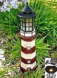 Garden Sunlight 35-Inch Garden Decor Outdoor Solar Lighthouse, Red/Ivory, Amber LEDs