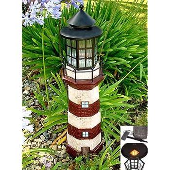 Garden Sunlight 35 Inch Garden Decor Outdoor Solar Lighthouse, Red/Ivory,  Amber