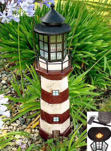 Genial Garden Sunlight 35 Inch Garden Decor Outdoor Solar Lighthouse, Red/Ivory,  Amber