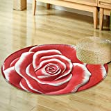 Round Area Ruglow relief cement thai style handcraft of rose flower Indoor/Outdoor Round Area Rug-Round 35''