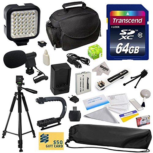 Advanced Accessory Kit for Canon HF R20 R21 R26 R27 R200 R205 R206 HFR20 HFR21 HFR26 HFR27 HFR200 HFR205 HFR206 Video Camera Camcorder Includes 64GB High Speed Memory Card + Card Reader + Power2000 Ultra High Capacity 1300mAh Replacement Battery for the C by 47th Street Photo