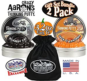 "Crazy Aaron's Thinking Putty Halloween ""Scaredy Cat"" & ""Jack O' Lantern"" Glow in the Dark with Blacklight Charger Gift Set Bundle with Exclusive ""Matty's Toy Stop"" Storage Bag - 2 Pack"