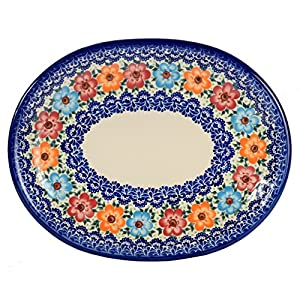 Traditional Polish Pottery, Handcrafted Oval Banquet Serving Platter 34cm, Boleslawiec Style Pattern, S.201.BLUELACE