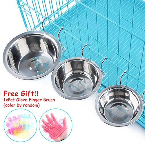 Stainless Steel Dog Hanging Bowl Food Water Bowls with Hook for Dogs Cats Rabbits Bunny in Crate Cage Kennel,Set of 2(Free Gift 1xPet Glove Finger Brush Included) (S)