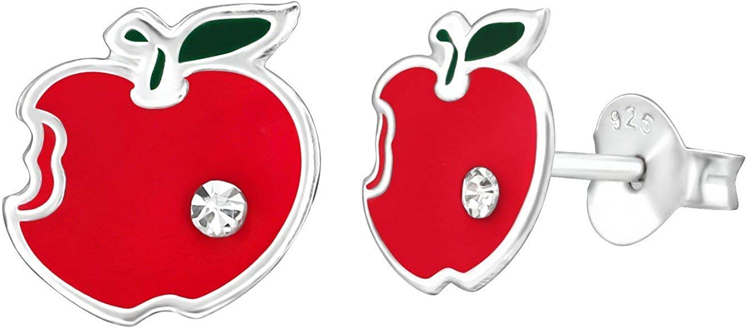 .925 Sterling Silver Apple Bite Stud Earrings with Cubic Zirconia