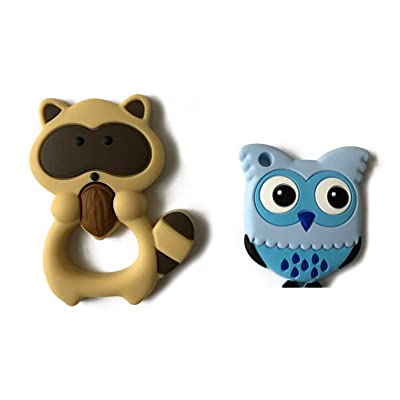 Silly Cow Baby Teething Toys. 100% Silicone, BPA & Phthalates Free Teether Highly Recommended Moms, FDA Complaint. Raccoon Combo Sore & Ichy Gums (Brown Raccoon & Owl) : Baby