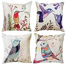 Hangood Cotton Linen Throw Pillow Case Cushion Covers Birds 18 x 18 inches Set of 4pcs