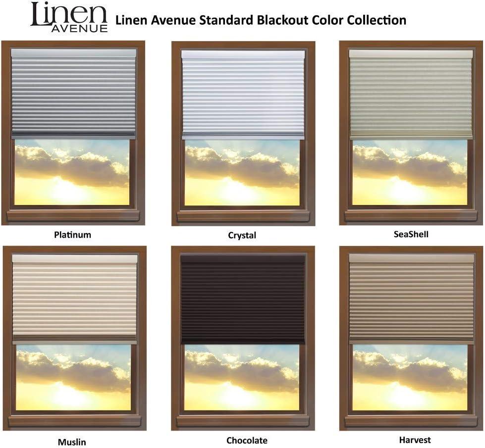 Linen Avenue U6MU4650B48 Custom Cordless 46 1//2 W x 42 to 48 H Muslin Blackout Cellular Shade