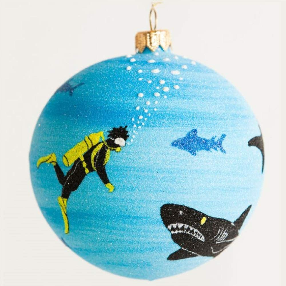 Home and Holiday Shops Shark Tank Scuba Diver Polish Glass Ball Christmas Tree Ornament Made in Poland