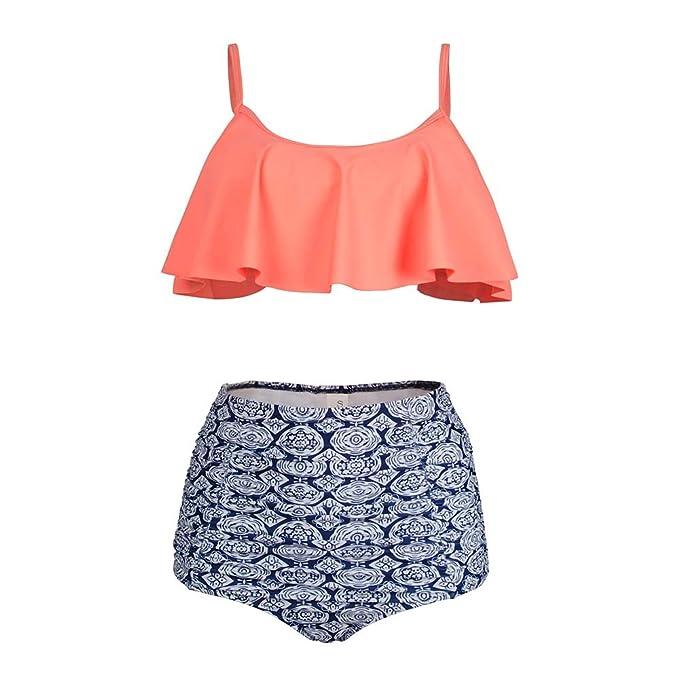 d9fe8b901d Amazon.com: Kxing High Waisted Swimsuit, Falbala Cute Bikini Set Two Piece Bathing  Suits for Women: Clothing