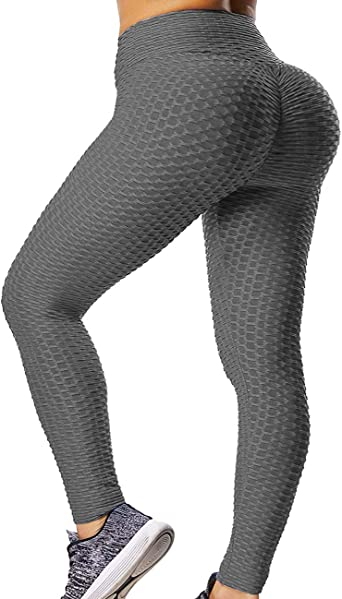 Amazon Com Gillya Booty Yoga Pants Women High Waisted Ruched Butt Lift Textured Scrunch Leggings Booty Tights Clothing