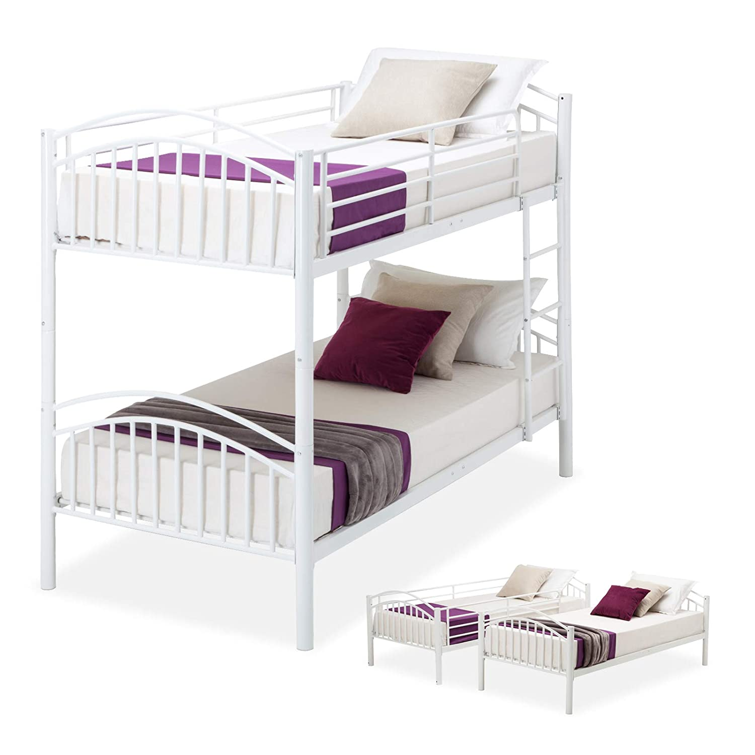 Amazoncom Lagrima Twin Over Twin Bunk Beds Convertible Metal Bunk