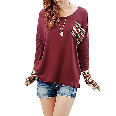 Susenstone Blusas de manga larga mujer blusa de cuello camisa floja marcada redondo (EU:40, Verde): Amazon.es: Hogar