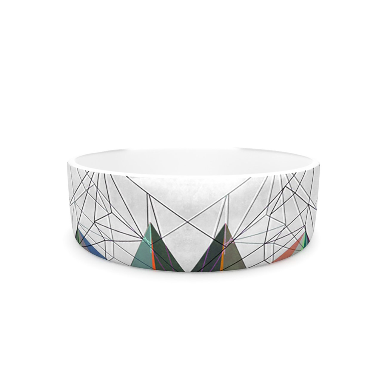 Kess InHouse Mareike Boehmer colorflash 3X  Pet Bowl, 7-Inch, Grey Rainbow