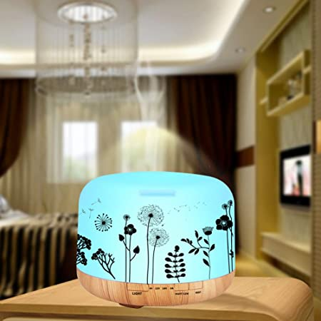 ledsniper 500ML Essential Oil Diffuser Dandelion Printing Remote Control with 6 of Essential Oil