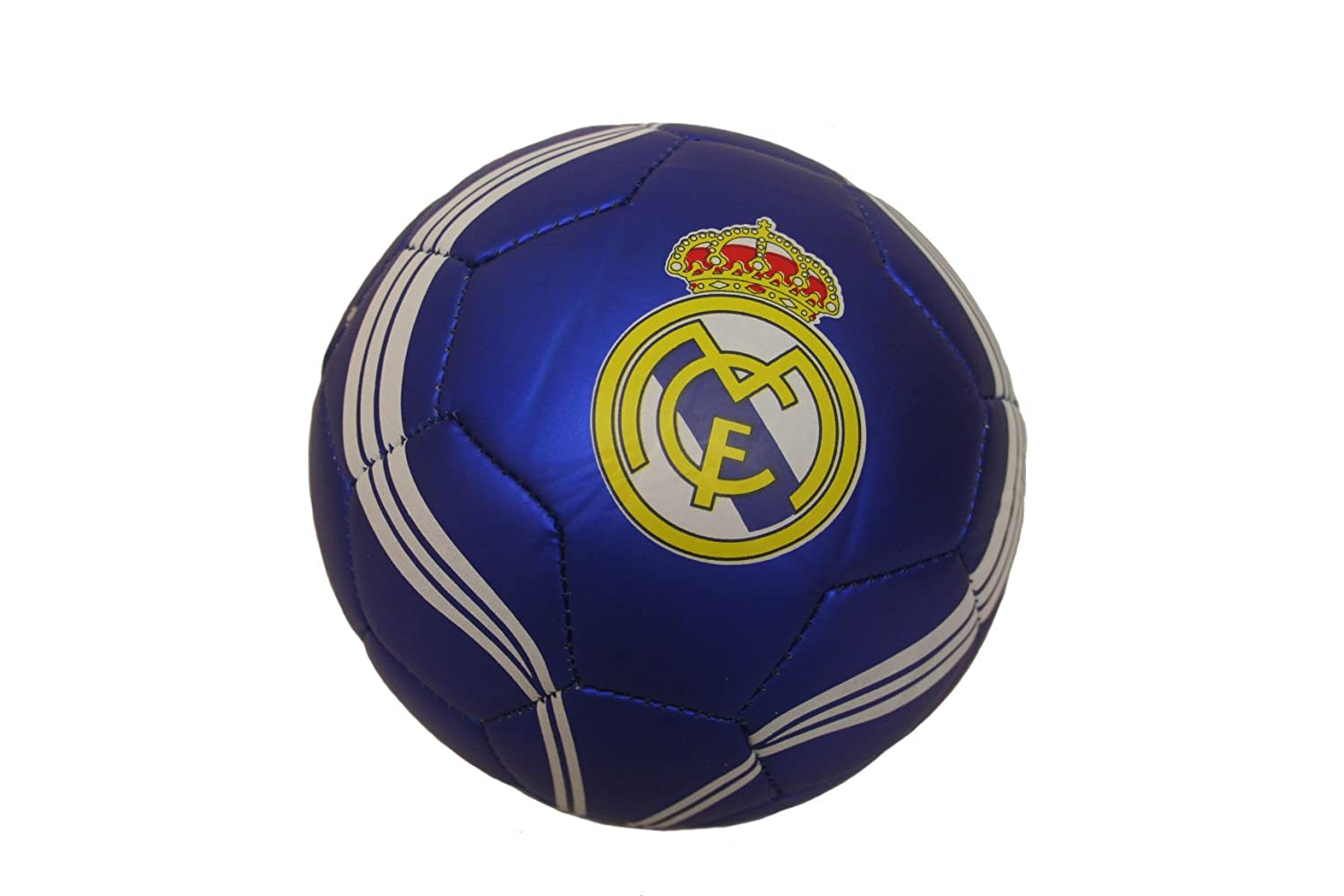 Real Madrid BLUE With Curved White Stripes Logo FIFA World Cup Soccer Ball Size 2. New FLAG INC.