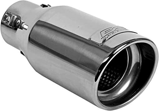 Exhaust Tip Stainless Steel Oval Non-Resonated Angle Cut Bolt-On Polished