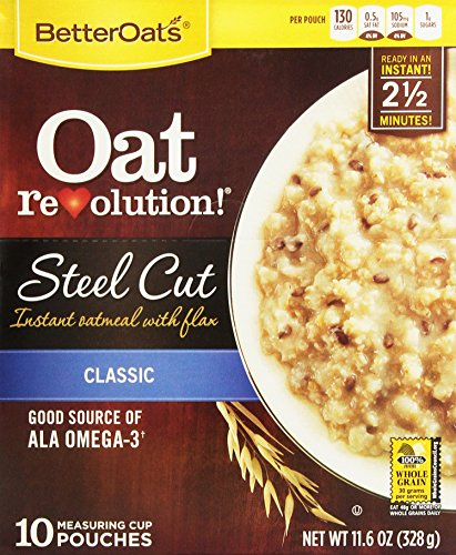 Oat Tops (Better Oats Steel Cut Oats with Flax Classic 10 Pouches 11.6 oz (Pack of)