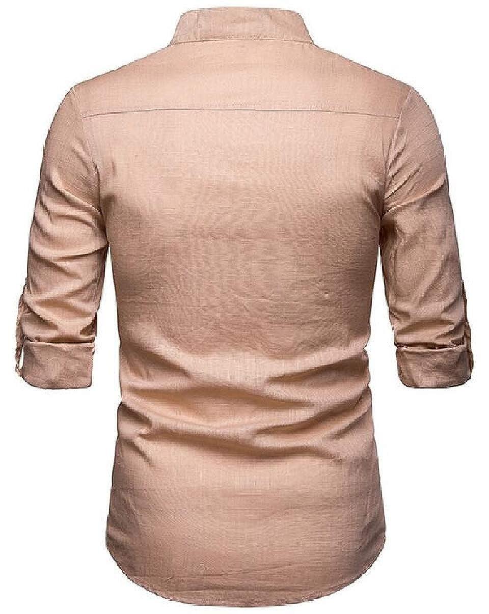 YIhujiuben Mens Simple Shirt Long Sleeve Linen Button Down Solid Dress Shirt