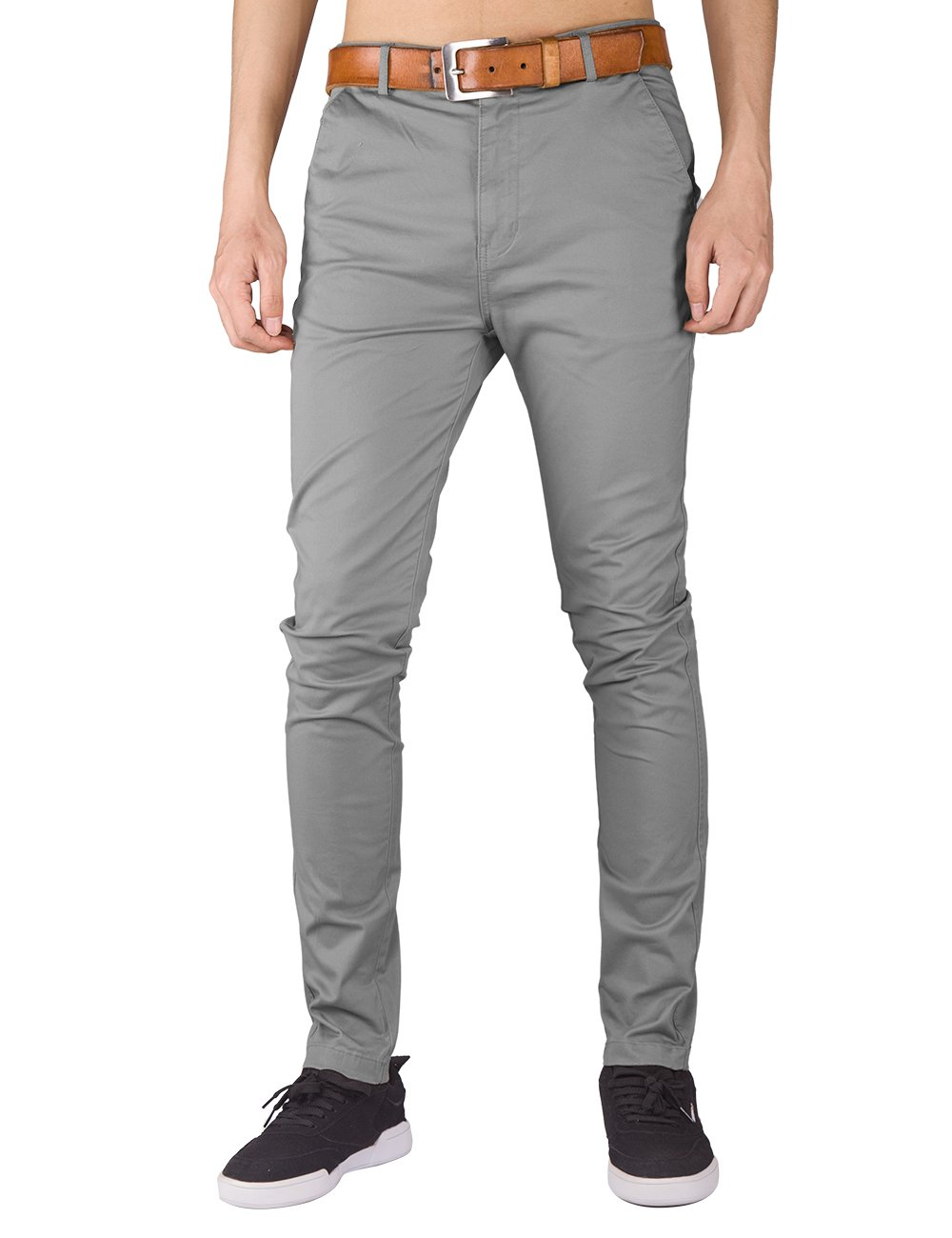 ITALY MORN Mens Flat Front Chino Pants Casual Khakis Slim Fit (XL, Light Grey)