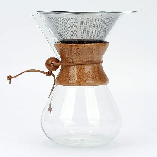 verter sobre la cafetera eléctrica con filtro permanente de acero ...