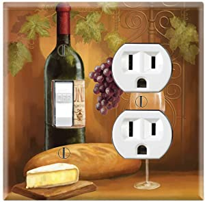 Graphics Wallplates - Wine Portrait - Toggle Outlet Combo Wall Plate Cover