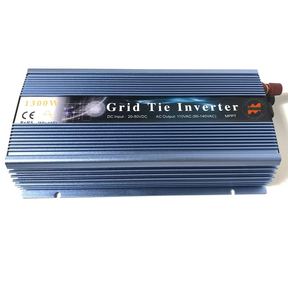 Marsrock 1300W Grid Tie Inverter 50Hz/60Hz Auto 20-50VDC to 90~140VAC Pure Sine Wave Inverter for Max 1500W Solar or Wind Power Input (Blue) by Marsrock