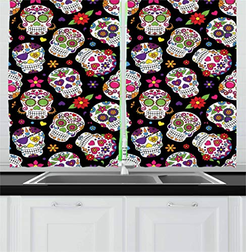 Ambesonne Sugar Skull Decor Kitchen Curtains, Festive Graveyard Mexico Ritual Figures Mask Design on Black Backdrop, Window Drapes 2 Panel Set for Kitchen Cafe, 55 W X 39 L Inches, Multicolor