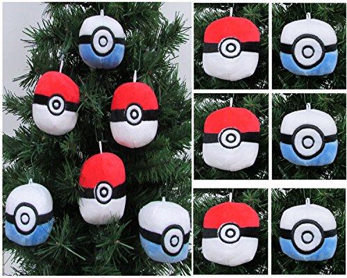 Pokemon Catcher   6 Piece Pok  Ball Plush Christmas Tree Ornament Set Featuring 3 Red Pok  Balls And 3 Blue Pok  Balls   Averages 3  Round
