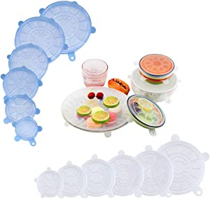 Reusable Silicone Stretch Lids, 12 Pack Upgraded Version Durable Silicone Lids Food and Bowl Covers, Silicone Food Covers Lids, Multiple Size Sunflower Shape Silicone Bowl Covers Set (Clear&Blue)