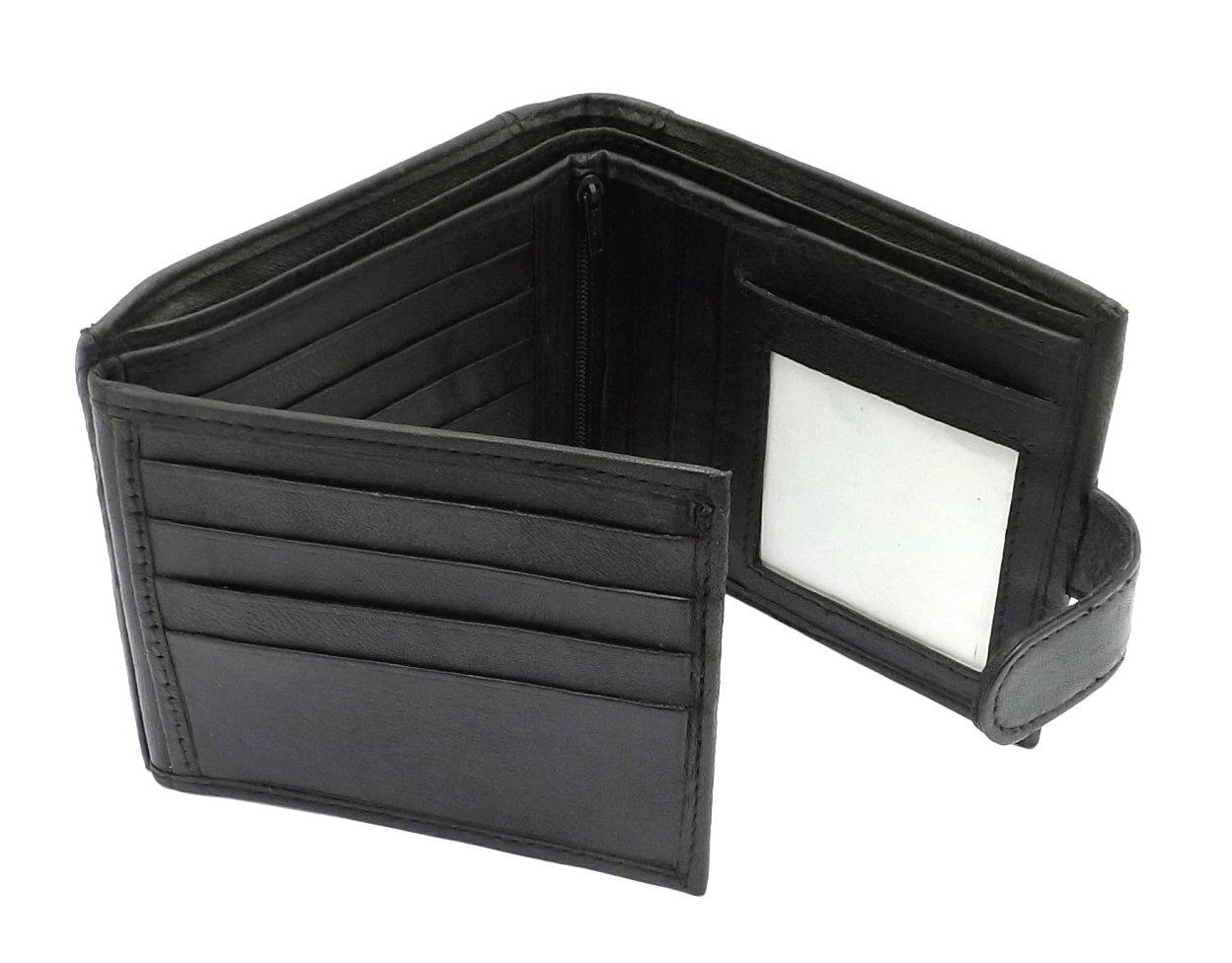 Portafogli In Morbida Pelle Da Uomo Che Contiene 12 Carte - 2 Spazi Per Banconote - Spazio Per Documento di Identità - Nero, 11X9CM
