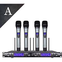 xtuga UHF conjunto Metal ew240sistema de micrófono inalámbrico sistema de micrófono inalámbrico de 4canales 4Micrófono, balck A 624.9,653.4,639.4,663.4