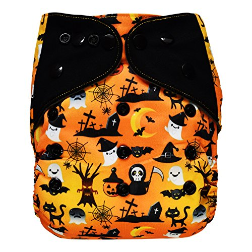 EcoAble Baby Charcoal Bamboo All-In-One AIO Cloth Diaper w/Pocket, Size 10-35Lb (Halloween, Limited (Halloween Diaper)