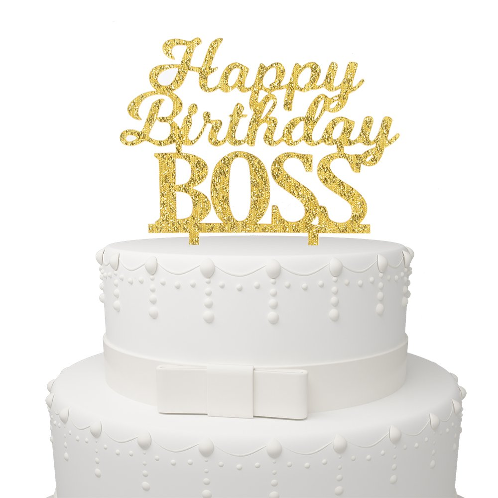 Happy Birthday BOSS Cake Topper - Office Party Adult Birthday Party Supplies Decorations Gold Glitter