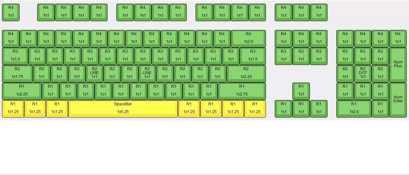 White Green 108 Keys 104//108 Keys PBT Keycap Top Printed Doubleshot Keyset OEM Profile for for 61//87//104//108 Cherry MX Switches Mechanical Keyboard
