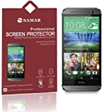 SAMAR® - Supreme Quality New HTC One M8 Crystal Clear Screen Protectors [Released 2014] 6 in Pack - Includes Microfiber Cleaning Cloth