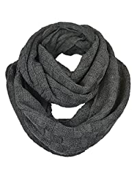 FORBUSITE Men Plaid Pattern Knit Winter Infinity Scarf E5031b (Dark Grey)