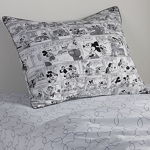 (Ethan Allen | Disney  Mickey Mouse Comic Strip Sham, Mickey's Ears (Black), Standard)