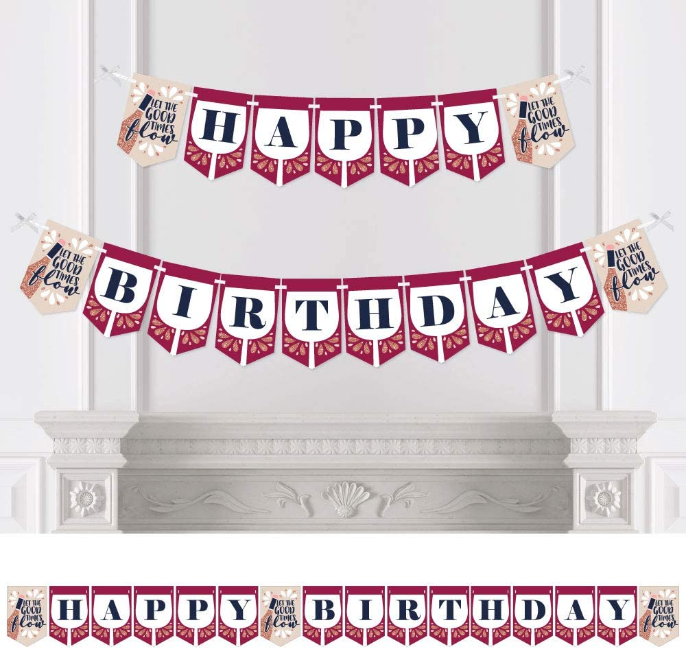 Big Dot of Happiness But First, Wine - Wine Tasting Birthday Party Bunting Banner - Birthday Party Decorations - Happy Birthday