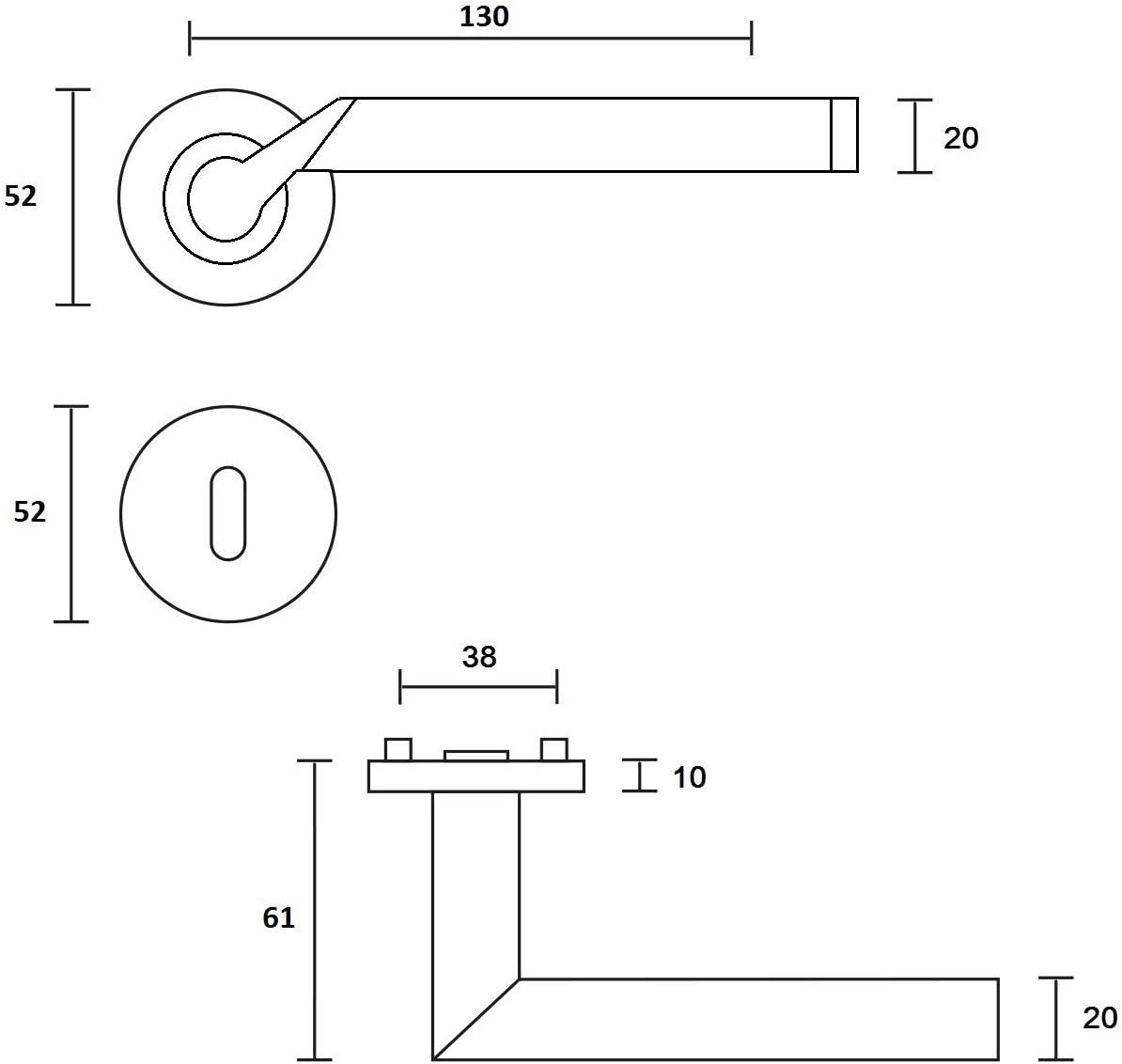 Festdrehbare Lagerung Design Dr/ückergarnitur Lightning Buntbart Chrom//Edelstahl matt Schnellmontage Schraubrosettenoptik BB