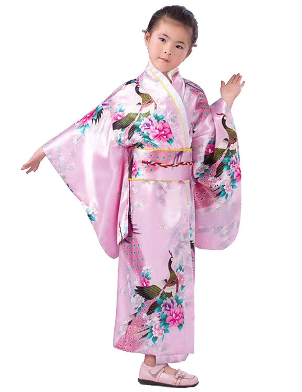 Japanese Traditional Dress Kimono Robe for Kids Girls Costume